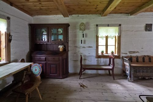 Nowogród, Poland: interiors of various huts in the skansen (folk museum) of the Kurpie ethnocultural region [source].