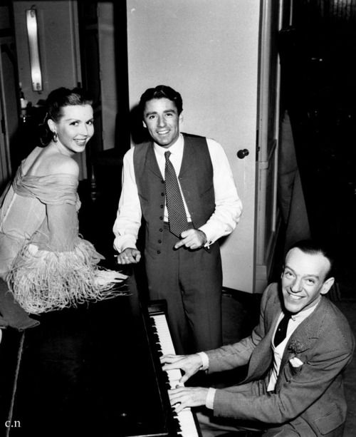 Ann Miller, Peter Lawford and Fred Astaire on the set of EASTER PARADE