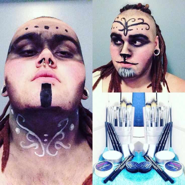 So here is both first trials playing with makeup for cosplays and costume and the makeup I used. All is ordered from Extreme Makeup UK and brand of makeup and brushes is @kryolanofficial .  Very proud of this being the result of first time doing makeup #firsttime #makeup #faun #tribal #native #woodelf #elvish #kryolan #kryolanmakeup #firstimakeup #eyeshadow #aquacolors #supracolors #brushes #equipment #supplies #cosplay #cosplaymakeup #cosplaymakeuptesting #costest #makeuptesting
