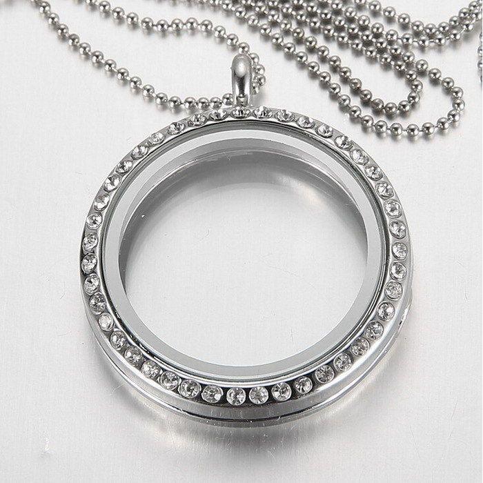 (Sin Cadenas) Nueva Moda Ronda Colgante de Cristal de Plata Rhinestone medallón Flotante Memoria Viva Locket Collar de cristal para las mujeres