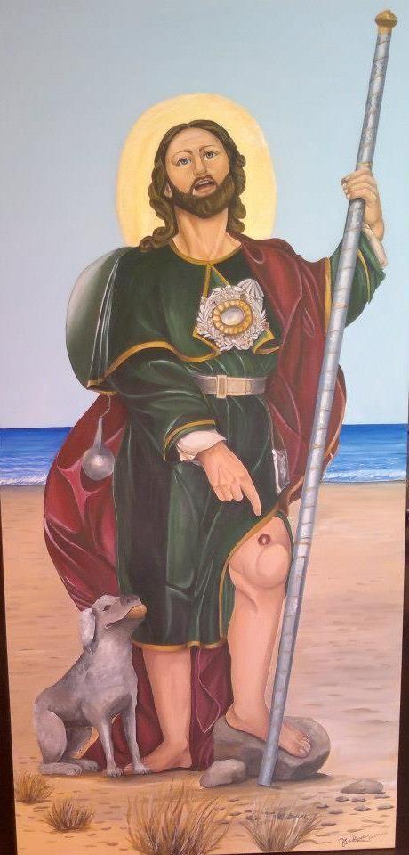 San Rocco e il cane acrilico su tela 50 x 1,70  2012 autore Natalia Albanese