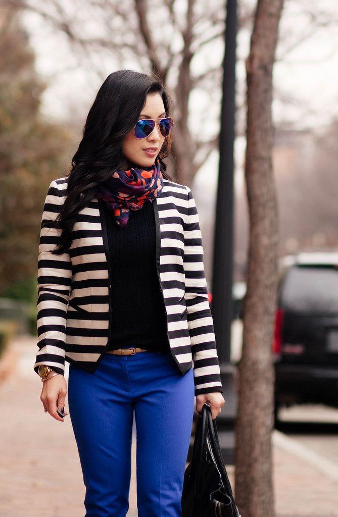 Striped Blazer   Cobalt Pants // BR Sloan Pants Review