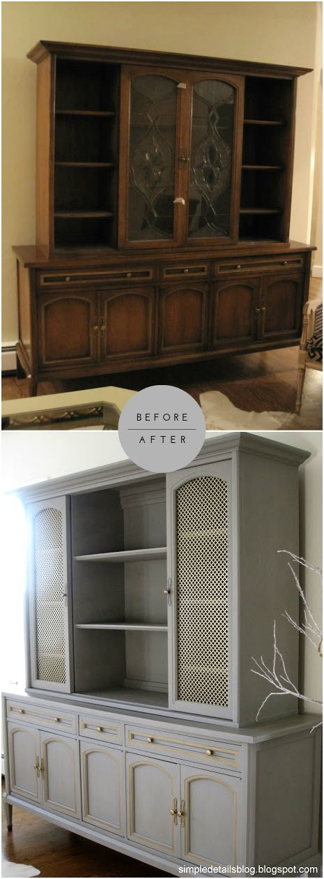 Amazing Buffet with Hutch DIY Retake Products: Annie Sloan Chalk Paint - French Linen Annie Sloan Clear Wax Rub 'n Buff Gold Leaf on Hardware (most of it!)  Aluminum Sheet on doors - Home Depot here