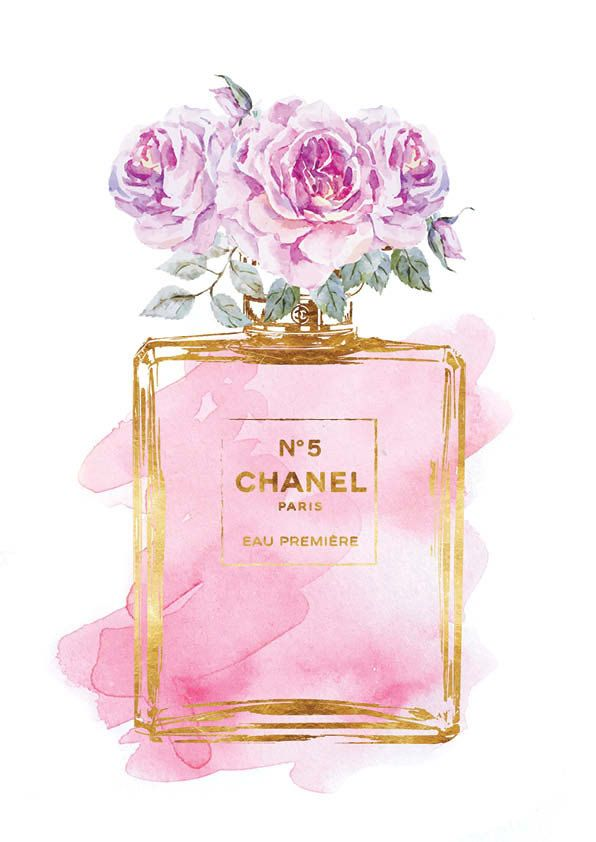 Set of 3 5x7in Chanel no5 water color prints Roses by hellomrmoon