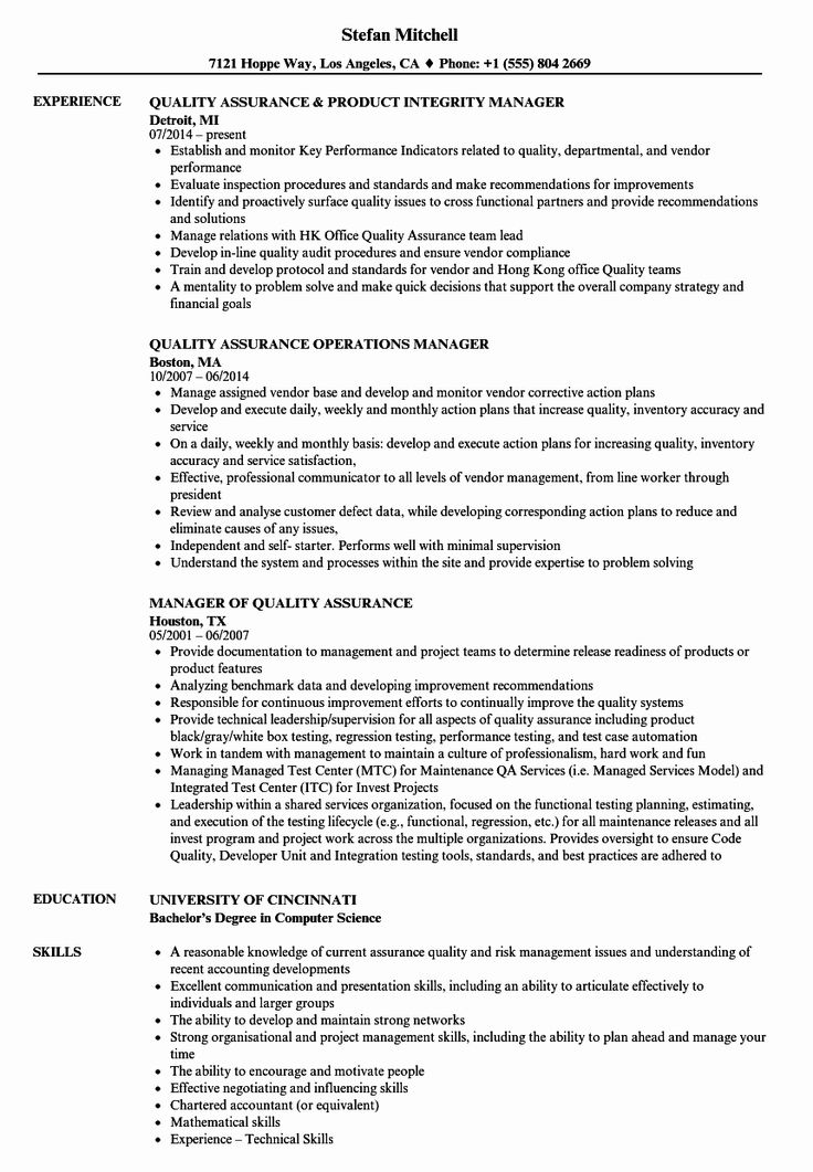 quality assurance resume in pharmaceutical industry