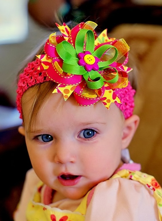 baby hair bow... ribbon  flower hairbow ...infant headband...pink/yellow/green hair bow... newborn, toddler and little girls..head band. $9.99, via Etsy.