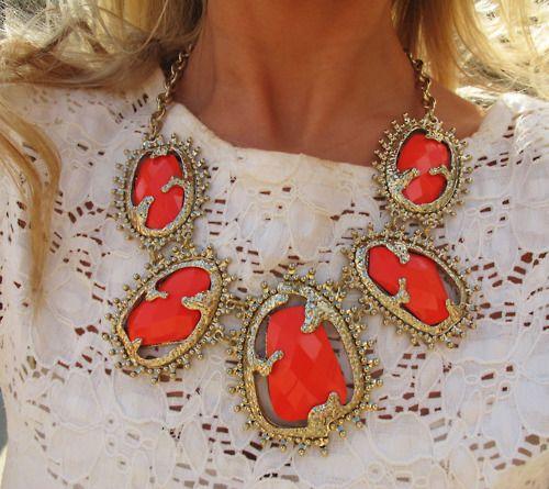 orange statement necklace.
