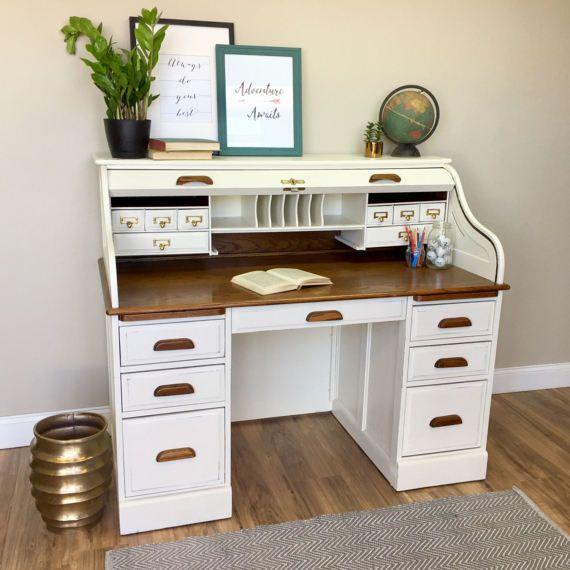 Vintage Roll Top Desk Solid Wood Desk Country Cottage