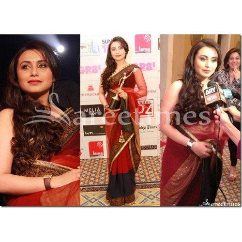 Rani mukherjee in an attractive red & black manish malhotra saree - Online Shopping for Net Sarees by ZAHARA
