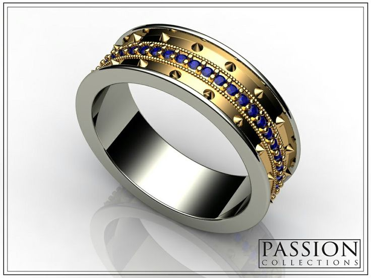 PC308SB2T 14K Two Tone #Gold 47 Blue #Sapphires (.39ct/tw) #NaturalStones #Ring #Jewelry #customjewelry