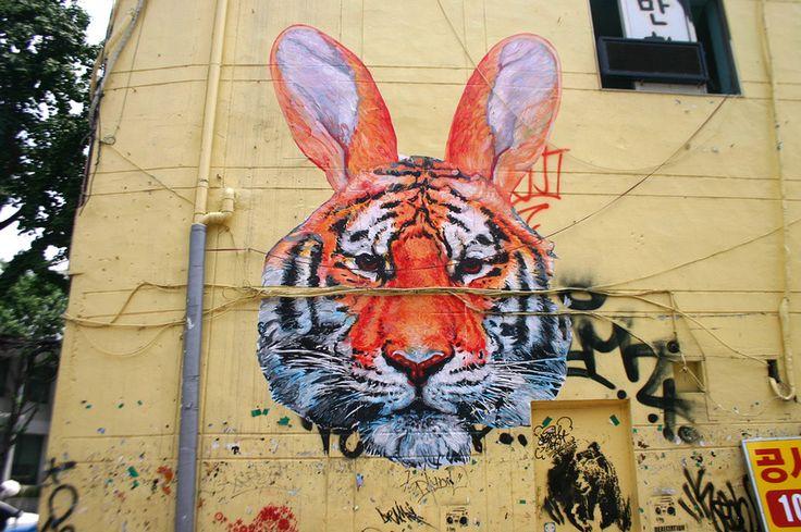 Tiger Rabbit. Gaia in Seoul - unurth | street art