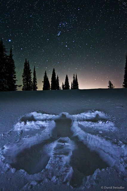 snow angel below Orion