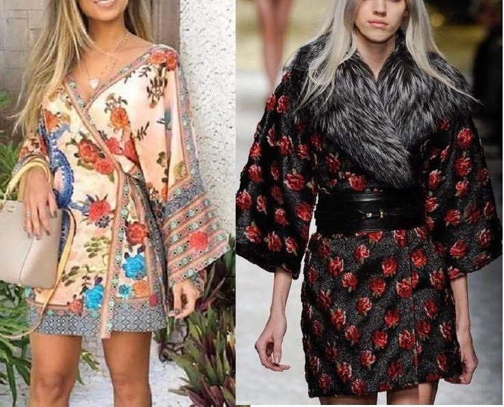 Vestido Kimono clássico. Esquema do 36 ao 56