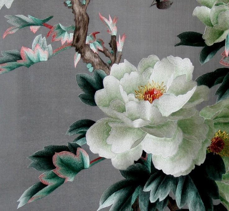 Chinese embroidery of white peony pinterest