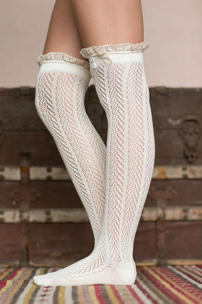 White Thigh High Boot Socks With Lace Trim #10-30 #cute #meta-filter-color-white #retro