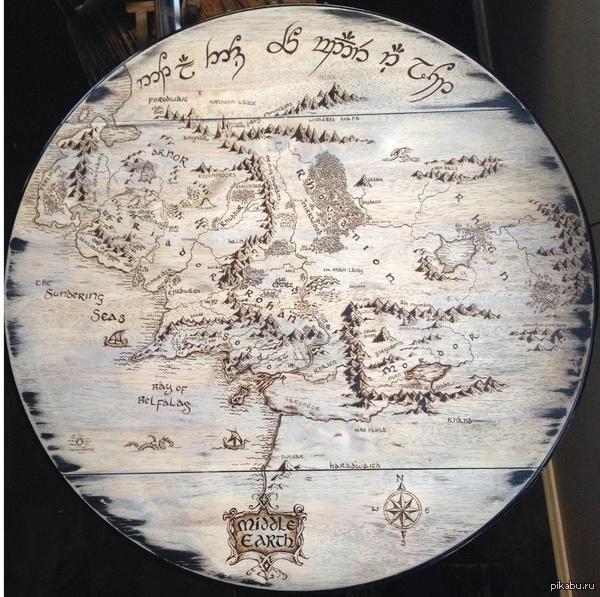 """""""Выжег карту Средиземья на деревянном кухонном столе""""   выжигание по дереву, карта, Средиземья, властелин колец, хоббит, стол, фильмы"""