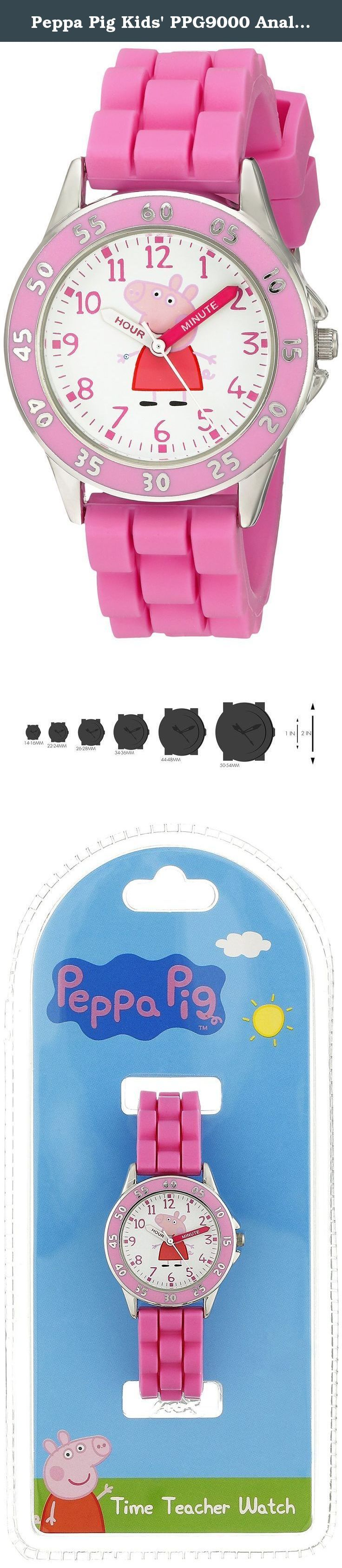 Peppa Pig Kids' PPG9000 Analog Display Japanese Quartz Pink Watch. Pegga Pig kids time teacher watch with pink strap. Peppa pig print in the dial and analog display. Japanese-quartz Movement. Case Diameter: 32mm. Not Water Resistant.