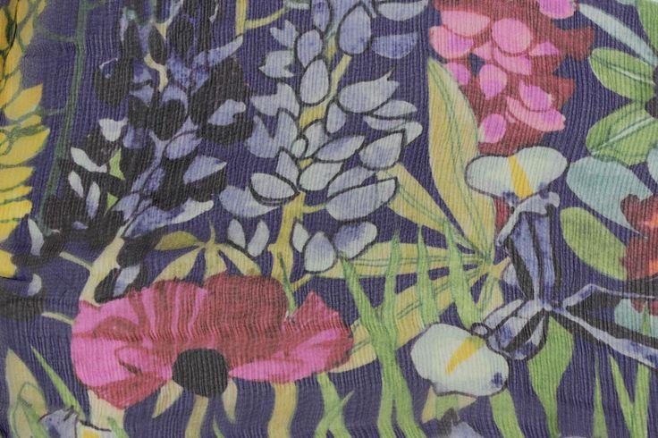 Liberty Of London Bloomsbury Crinkle Chiffon - Annas Garden Blue