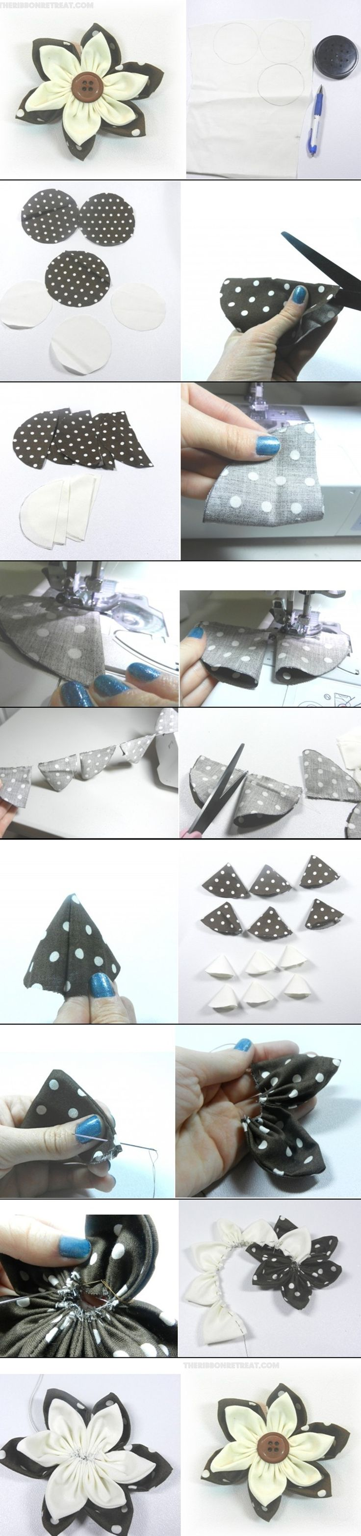 MATERIALS - Fabric - Needle and Thread - Sewing Machine - Button  INSTRUCTIONS Follow step-by-step instructions ontheribbonretreat.com