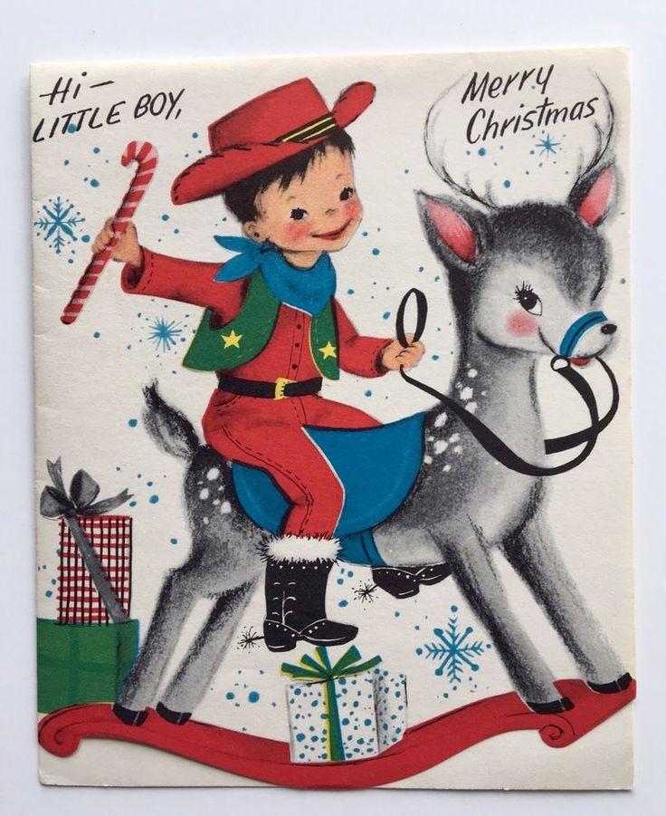 UNUSED Vintage Christmas Card Cowboy Spurs Hat Rocking Horse Reindeer Snow Star