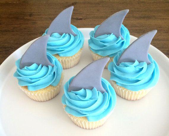 Shark Fin Cupcake Toppers  Fondant by MilkandHoneyCakery on Etsy
