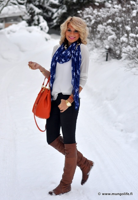 scarf, bright orange bag & tall brown boots