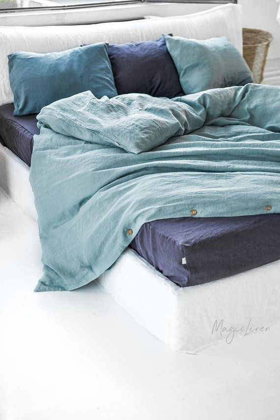 Our Aquamarine Blue Linen Bedding Range Will Give Your Bedroom A Timeless Elegance And You A Restful N Linen Duvet Covers White Linen Bedding Bed Linen Design