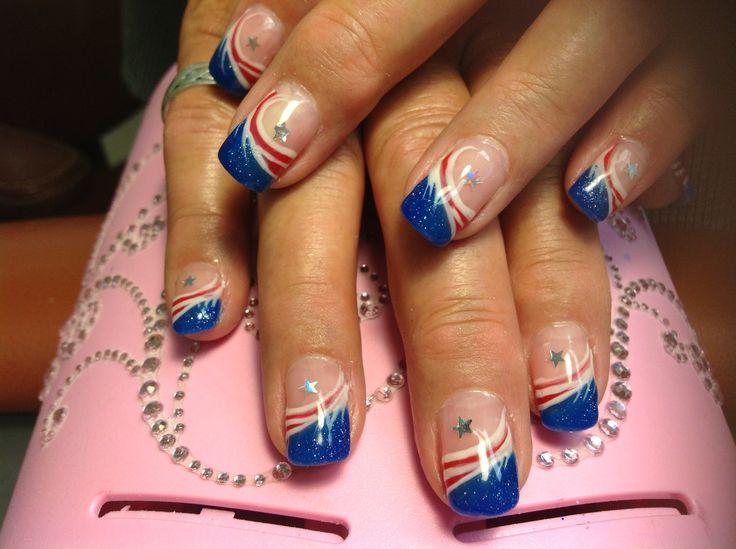 Art, Anchors Nails, Nails Design, Acrylics Nails, Red White Blue, Blue