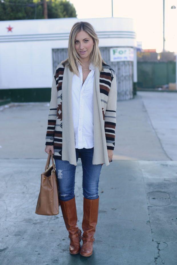{BB Dakota Sweater (similar here), J.Crew Men's Button Down, AG Maternity Jeans