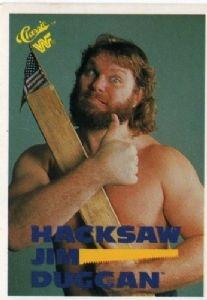 "HACKSAW JIM DUGGAN #110 WWF 1990 Titan Sports ""Classic"" Wrestling Trading Card"