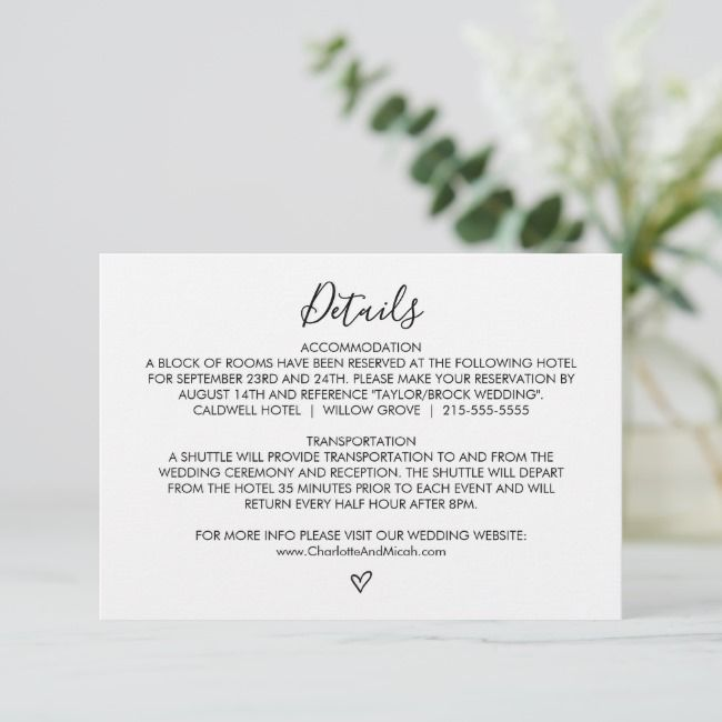 Create Your Own Enclosure Card Zazzle Com With Images Heart Wedding Wedding Details Wedding Details Simple