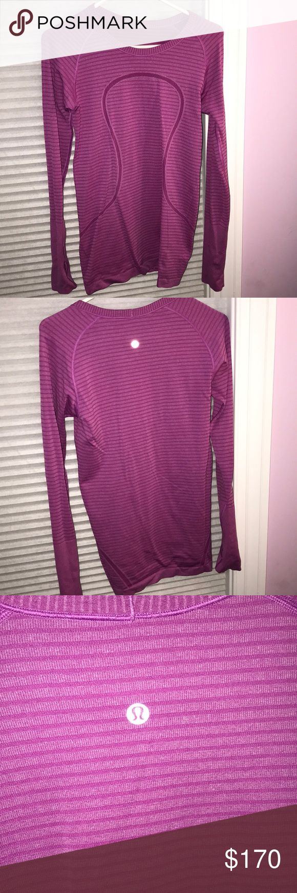 RARE PURPLE LULULEMON TOO Beautiful purple lululemon top! VERY RARE AND COLORS AND STYLES LIKE THIS ARENT SOLD ANYMORE! Super rare and great design! WORN ONCE! Practically in new condition! Does not have small white tag since I find them annoying but this is a size 10 in Lululemon tops and will fit a medium/regular- large woman RARE MESSAGE INSCRIBED! lululemon athletica Tops Tees - Long Sleeve