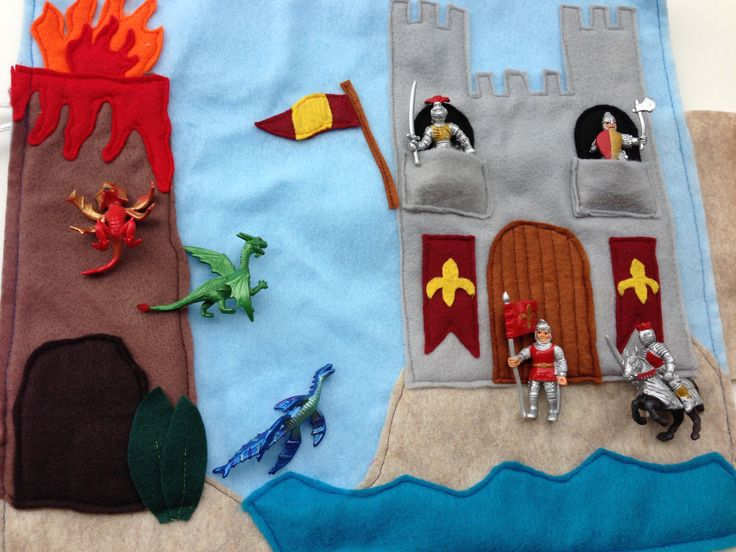 Felt Play Mat Dragons Vs. Knights Travel Toy with by elephantalley, $24.00