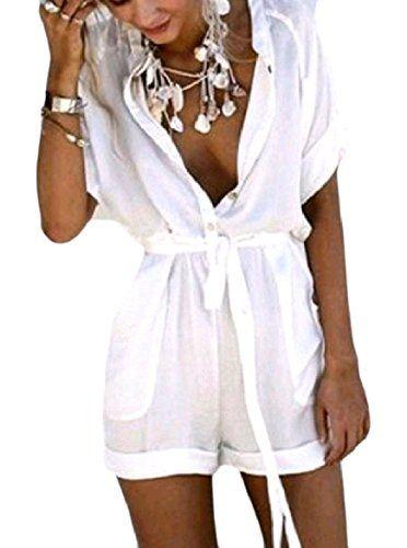 03b3ad8e637f Winwinus Women s Leisure Tunic Pocket Short Sleeve Fashion Button Playsuit  Shorts Rompers Playsuit White L