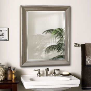Transitional Brushed Nickel Mirror For The Master Bath