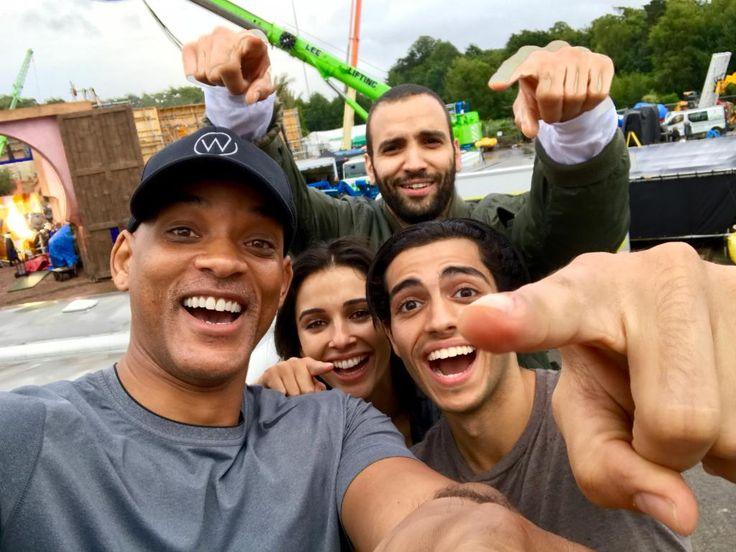 First picture of Will Smith (Genie) Mena Massoud (Aladdin) Naomi Scott (Jasmine) and Marwan Kenzari (Jafar) from the set of Aladdin.