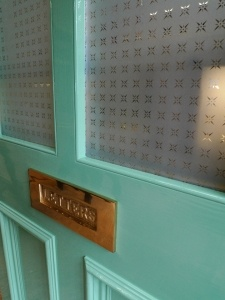 A victorian style 4 panel etched Glass Front Door