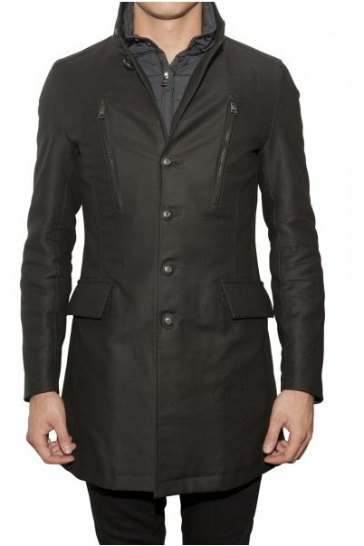 Gian Carlo Rossi Single-breasted coat with zip details in black.