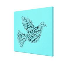 Blessings Dove, Inspirational Canvas Electric Blue Canvas Print