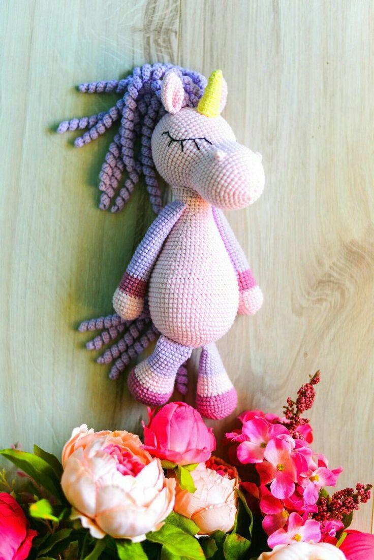 Crochet pink unicorn, crochet toys, crochet animals