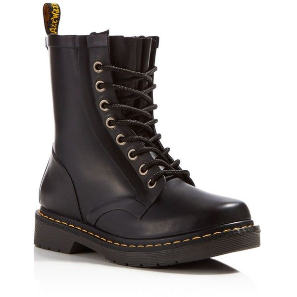 Dr. Martens Drench 8-Eye Lace Up Rain Boots ($105) ❤ liked on Polyvore featuring shoes, boots, black, dr martens footwear, wellington boots, rubber shoes, black shoes and rain boots