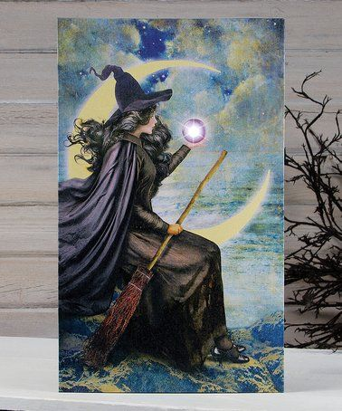 Look what I found on #zulily! Lighted Witch & the Moon Wrapped Canvas #zulilyfinds