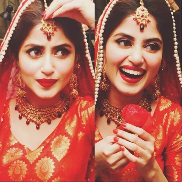 She is the true definition of beauty! Gorgeous bride!shooting for her upcoming tv show!#SajalAli#Pakistaniactress#loveher