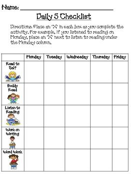 Once you have established your routine for the Daily 5 (or Daily 3) your students can begin to manage their own rotation choices. Students keep thi...