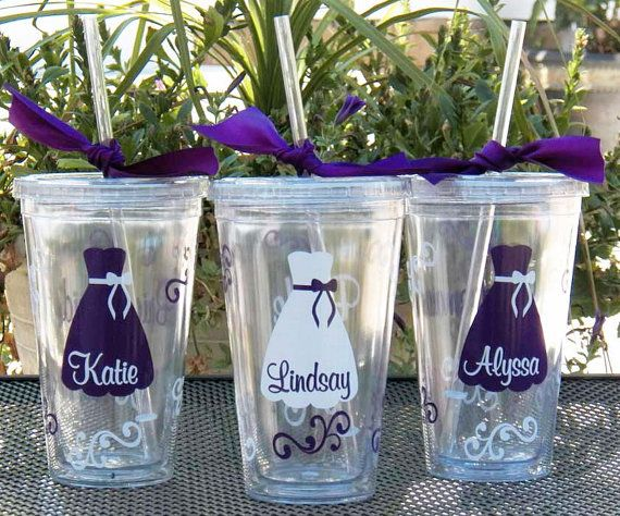 1 Personalized Bride, Bridesmaid, Junior Bridesmaid, Flower Girl or Maid of Honor Acrylic Tumblers, Great Bridesmaid Gifts