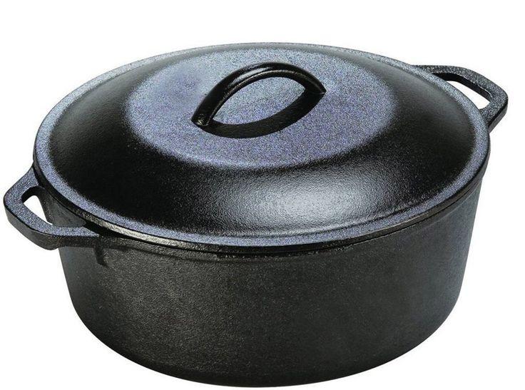 Pre Seasoned Cast Iron Dutch oven with Dual Handle and Cover Casserole Dish - Black, 6.6 Quarts - Utopia Kitchen