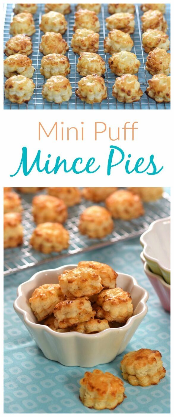 Bite sized mini mince pie puffs - easy cheats recipe for puff pastry mince pies - fun for Christmas party food and snacks - Eats Amazing UK