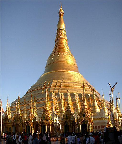 "Shwedagon Pagoda, ""The Dragon Temple"", Myanmar.  Built on the spot where the great Budda dropped his ice cream cone"