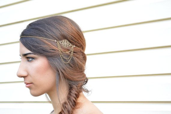 Filigree Head Piece // Headdress // Bohemian Head Accessory // Headband //  Hair Accessory // Boho Head Chain
