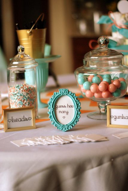 "Photo 5 of 33: Coral and Aqua / Baby Shower/Sip & See ""It's a Girl - Coral & Aqua Baby Shower"" 